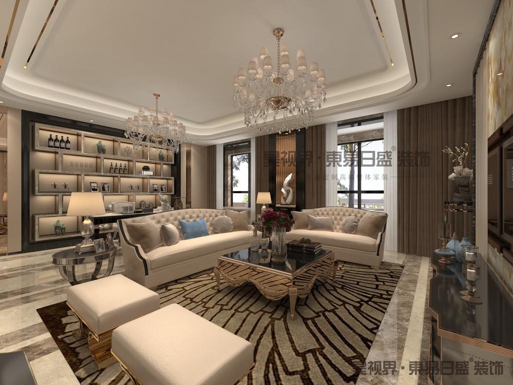 本案在设计风格上定位轻奢主义风格,布局造型上对称,显示礼节化,进一步明确庄重性。
