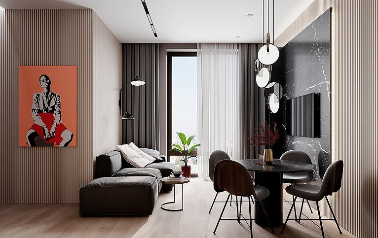 竖条纹的米色背景墙  挂上了荧光橘的人物挂画  为整个空间带来活力  沙发旁的木质边桌不占空间  可以用来摆放一些小物件
