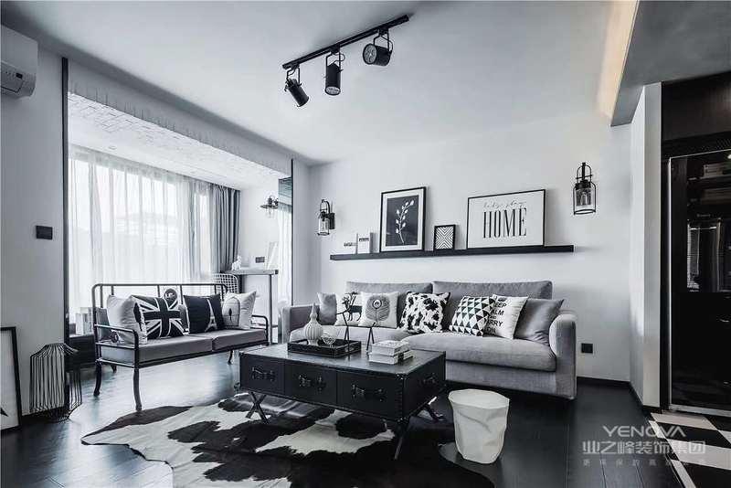现代工业风格设计主要是采用黑白灰色。黑色给人视觉上的神秘冷酷,白色给人的感觉是优雅静谧的,白色和黑色的搭配在层次上会出现更多的意想不到的变化。
