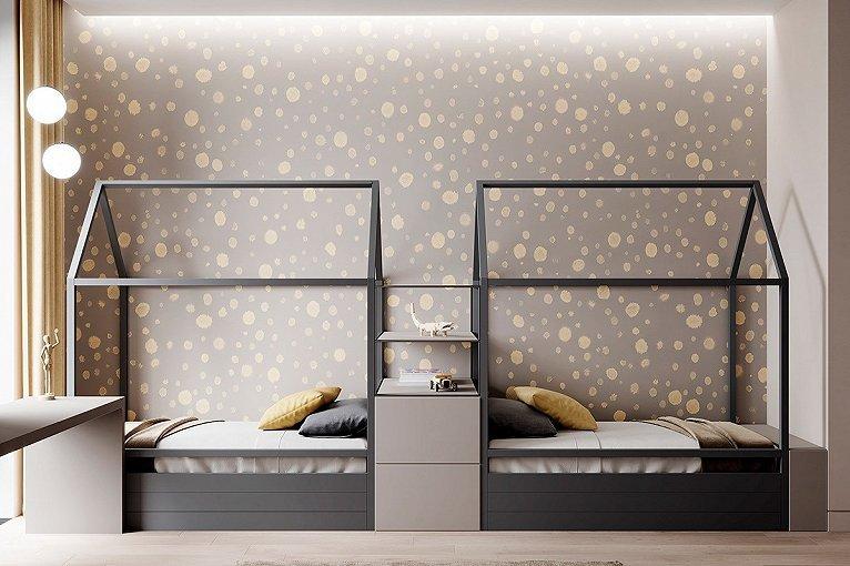 儿童房的床铺像两个小屋  灰色背景墙上洒满了黄色圆点  装点了孩子们的梦