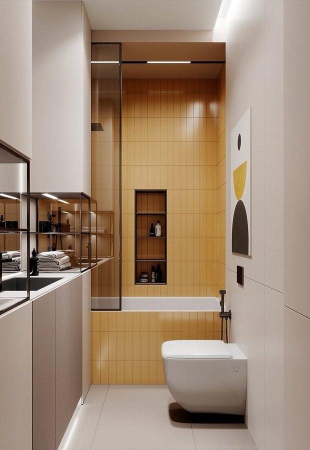 黄色瓷砖覆盖的沐浴区十分清新  壁龛方便放置沐浴用品  有一半的空间使用半透明黑色玻璃分隔  防止水溅出来