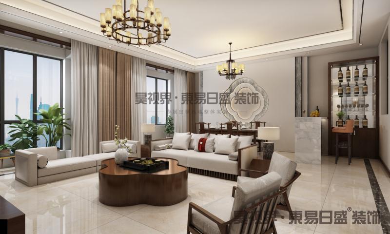 奢华沉稳的中式经典红木家具、诗词古画,搭配简约的地砖是中式与现代完美结合的典范。