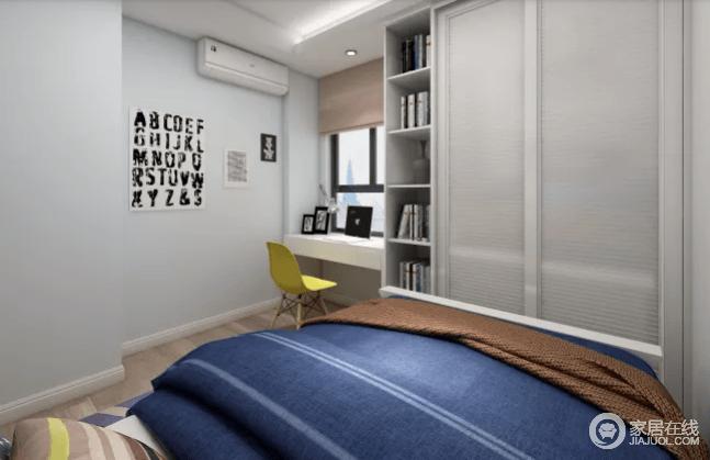 这个男孩房以浅蓝色为主,搭配白色书桌和几何书柜,以轻巧地设计,突出了生活的简单;配置1.2米的儿童床,简洁大方纯白色的推门衣柜,实用而紧凑,黑色字母挂画和黄色北欧单椅,无疑,给空间带来生趣和色彩。