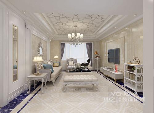 天花与地面上的拼花图案丰富且优美,使客厅空间蕴出浪漫的气息;墙面利用大理石、壁纸和墙板,以米黄搭配亮白色装饰,造型迤逦典雅的沙发、几类点缀营造,华美的轻奢华丽彰显。