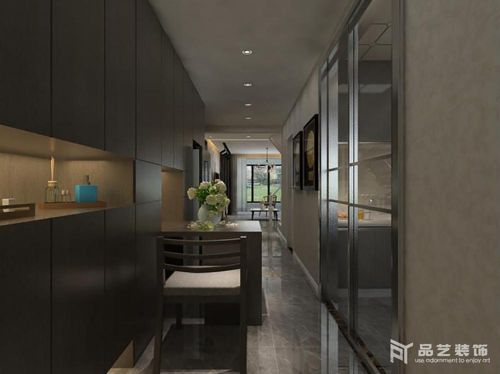餐厅位于走廊旁,与定制得收纳柜构成整个空间的实用设计,既可收纳又可用餐,同时因为玻璃推拉门让厨房与之分开,恰当地解决了空间区域性问题,以分明的设计,让生活更为简单化。