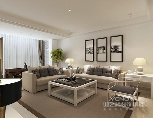 客厅墙面采用干净的白色,形成纯粹通透的留白,色调呼应着茶几、现代圈椅及边几;驼色沙发与地毯一致,素雅的靠包则以灰、黑白纯色和条纹点缀,简约的营造出层次;现代台灯质感温雅的对称映照,令氛围愈加柔和清新。
