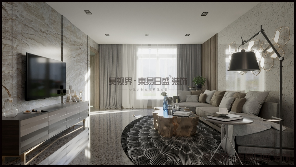 浅灰色的沙发十分的休闲,搭配亮色的单人位和蓝色玻璃的花瓶,颜色统一和谐。金属的挂件和茶几,给空间又来了低调轻奢的质感。
