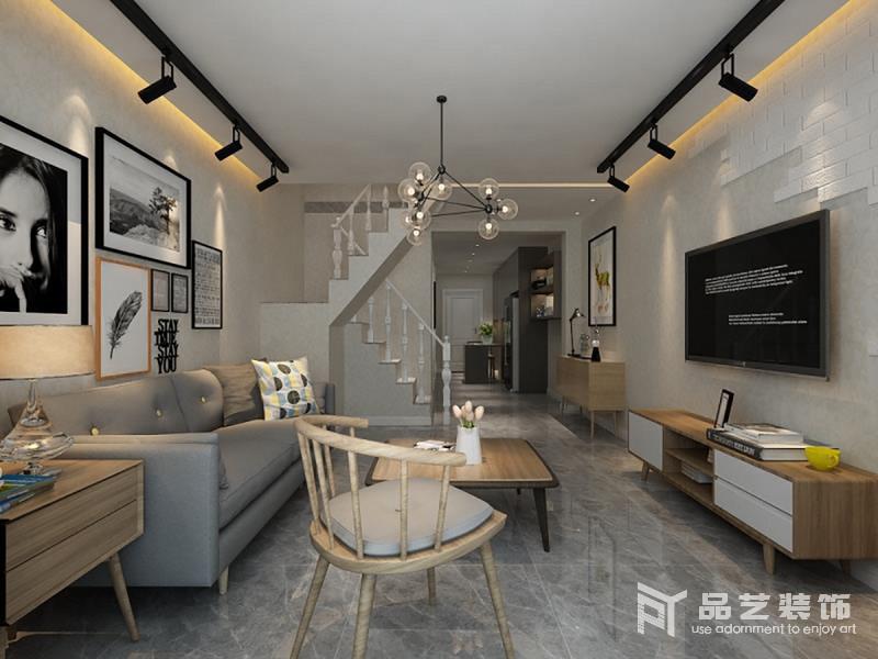 整个客厅以灰与白自然构成北欧习惯性用色,朴素而简洁;虽然旋转楼梯以欧式为主,但是,无形中增加了空间的复古,搭配北欧实木单人椅和家具,让空间充斥着北欧木香。