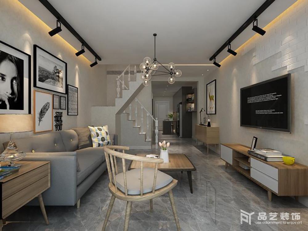 整個客廳以灰與白自然構成北歐習慣性用色,樸素而簡潔;雖然旋轉樓梯以歐式為主,但是,無形中增加了空間的復古,搭配北歐實木單人椅和家具,讓空間充斥著北歐木香。