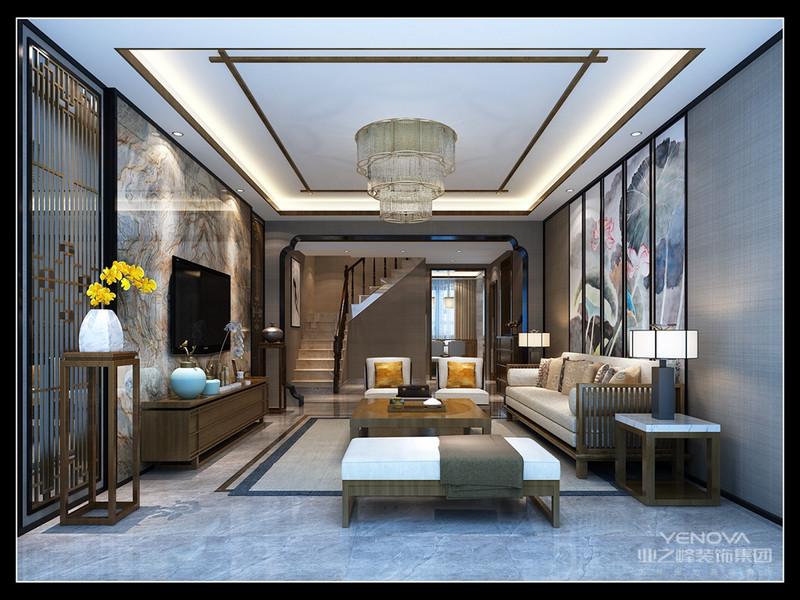 """本案的设计风格为中式风格。业主是一位领导,对中国传统文化有着自己独到的理解,因此在家居设计上加入了很多业主自己的偏好,以此来传递业主对于特定文化氛围的传递。因此在具体设计中,设计师采用了楠木,青花瓷,紫砂茶壶,禅意荷花装饰画以及一些木制工艺品等都展现了浓郁的东方韵味。同时在背景墙的设计上又采用了极具时下流行的大理石作为主要装饰材料,辅以质感上佳的实木装饰,不仅让空间显得庄严大气还不落俗套。 中式风格非常讲究空间的层次感,在需要隔绝视线的地方,则使用中式的屏风或窗棂、中式木门、工艺隔断、简约化的中式""""博古架"""