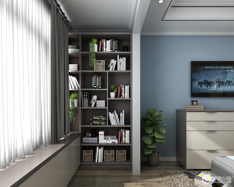 一个通体的书柜,不仅可以收纳大量的物品,更是让阳台空间变得井然有序,更加干净整洁。