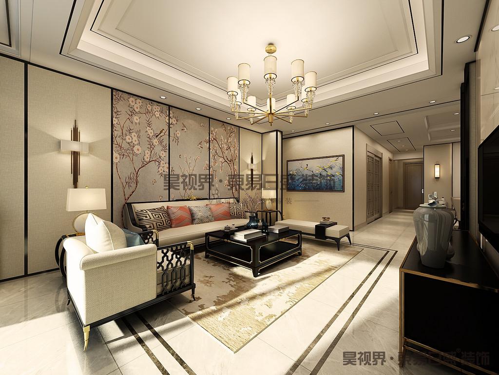 沙发背景墙用的也是黑色的钛金条和黄色的壁纸,中间是一副花鸟画。黑色的钛金条使得空间更有流动性,使整个空间更加柔和。