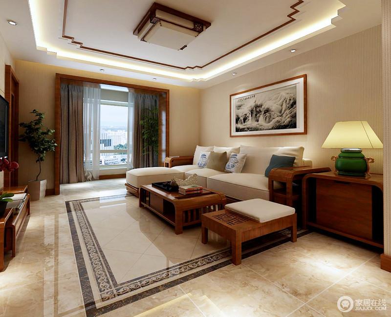 客厅的上下结构看似简单,却多了中式底蕴,让整个空间简中不凡;米白色壁纸搭配原木家具,可谓暖调十足,家具新中式设计多了新艺术感,延续着古设计元素,新旧兼备,让空间尤为温馨。