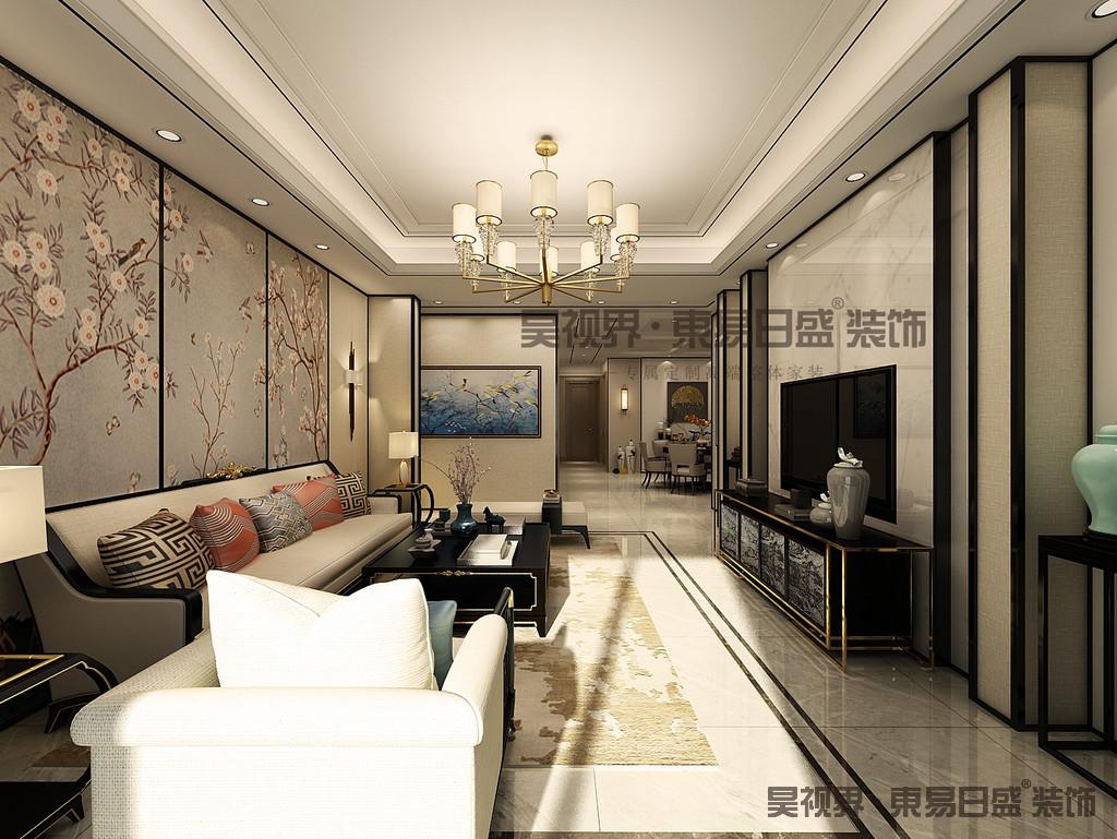 除了保留中式的韵味外,还加了大理石、玻璃、灯带、钛金条等现代材料,使空间包含了现代生活气息。