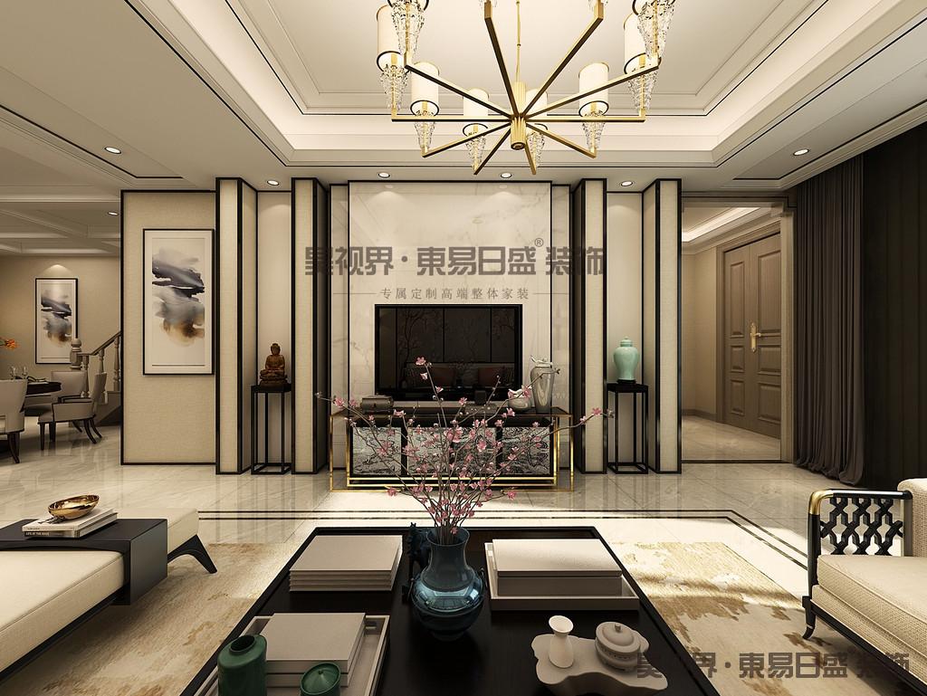 客厅的设计是整个空间的重点,地砖采用的是灰色的,看起来更自然电视墙用的是黑色钛金条,搭配白色的大理石和黄色的壁纸,看起来简单又不失华贵。