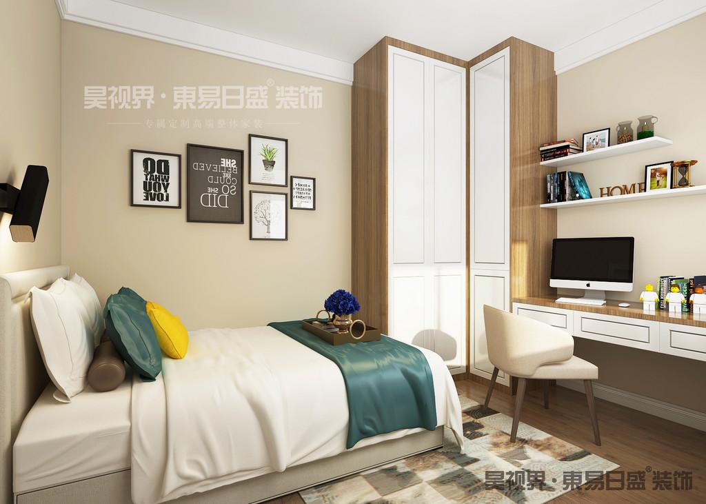 浅色双人床和床头柜设计,搭配床头背景墙,简单的挂上一副装饰画,温馨感由内而生。