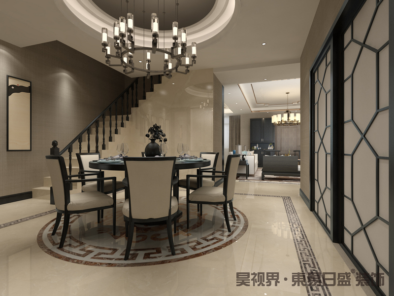 中式家具优雅与简约兼具,木制的线条与背景墙浑然一体 造出古典恬静的空间气韵,整体空间规整对称又不乏清朗俊逸。