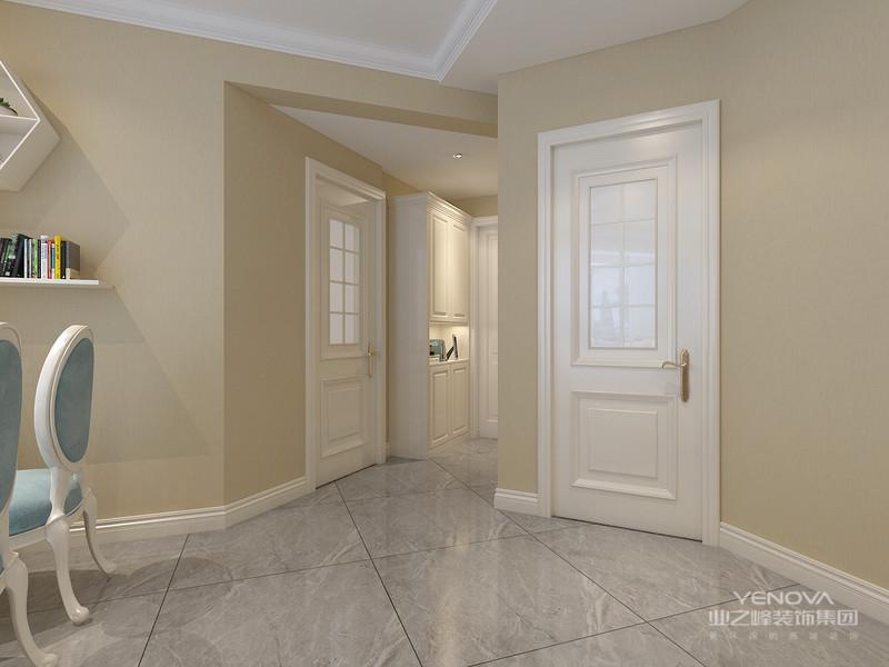 不规则的墙面不需要其他的装饰,刷上纯色的墙面就很有艺术感,白色造型的房门静静的镶嵌在墙上,尤为突出。