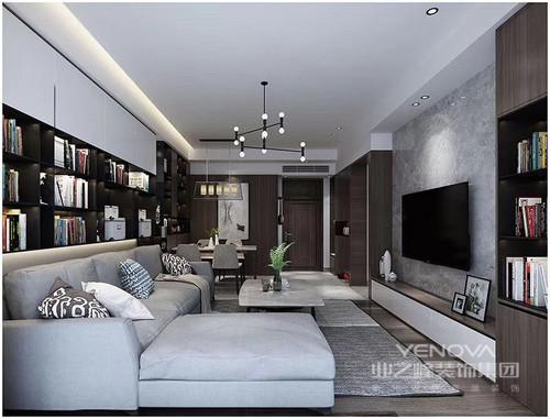 在这个四居室内,设计师以黑白为主色,通过空间划分、功能细分,给与主人一个舒适的三居室;不管是客厅的会客厅,还是书房的收纳,都以不同的设计形式,让空间格外饱满,收纳柜、飘窗等也成为设计的亮点,同时以恰当地比例使用灰色来装饰空间,更营造了一份安谧与沉静