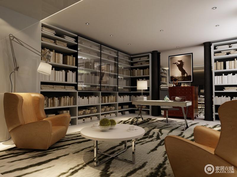 独立时尚且现代感超强的书房。
