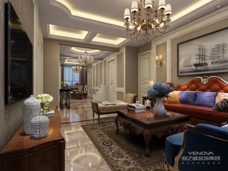 大量的采用了颜色的对比来增加空间的氛围,增强视觉的愉悦性,缤纷的颜色带来观赏性的享受,利用简约的现代化线条,欧式风格的主打元素,在对空间的重叠利用中,加强空间的利用率和美观度,配饰是神来之笔,势必为业主打造一个雅韵大方的享乐之所。整个客厅空间敞亮,色彩搭配和谐温馨,时尚且饱有内涵。暖色的家具色调与高雅的沙发背景墙互相辉映,骨子里透露出一股高贵的格调,每一处都恰到好处,引人遐想。在装修客厅的时候,不需要放置太多的家具,尽量让客厅显得干净清爽一点。落地的大窗户设计,增加了客厅透光率,也开阔了视野,让居住者心情