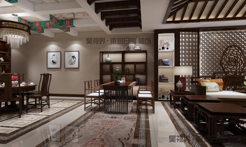 """中式古典风格的室内设计,是在室内布置、线形、色调及家具、陈设的造型等方面,吸取传统装饰""""形""""、""""神""""的特征。例如吸取我国传统木构架建筑室内的藻井、天棚、挂落、雀替的构成和装饰,明、清家具造型和款式特征。"""