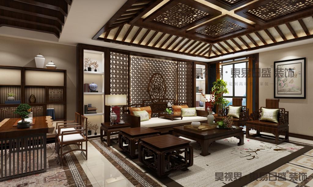 中式古典风格主要特征,是以木材为主要建材,充分发挥木材的物理性能,创造出独特的木结构或穿斗式结构,讲究构架制的原则,建筑构件规格化,重视横向布局,利用庭院组织空间,用装修构件分合空间,注重环境与建筑的协调,善于用环境创造气氛。运用色彩装饰手段,如彩画、雕刻、书法和工艺美术、家具陈设等艺术手段来营造意境。