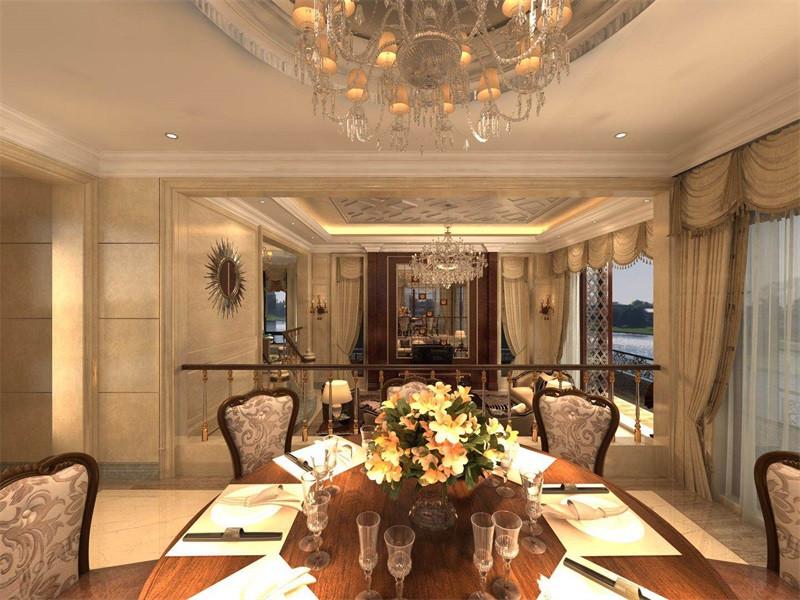 精美的别墅餐厅装饰能够营造舒适的用餐氛围,精致、优雅的水晶吊灯结合鲜花装饰,增添餐厅空间的浪漫七夕。