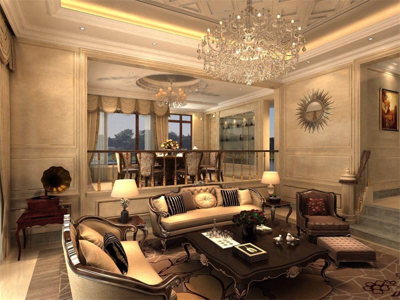 客厅的瓷砖以淡色为底,却通过吊顶的石雕呈欧式大气。