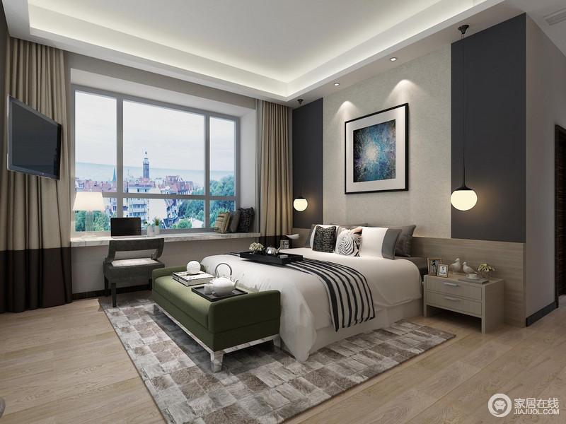 卧室的吊顶利用灯带营造简约的光影效果,与灰色的背景墙呈对比,圆形玻璃吊灯和彩色挂画组成青蓝之色,缓解了白色床品的单调;实木床头柜轻巧实用,与原木地板带来温实之感,浅灰色几何块地毯因为绿色床尾凳、灰色单椅更显个性,柔和中显出清和温馨。