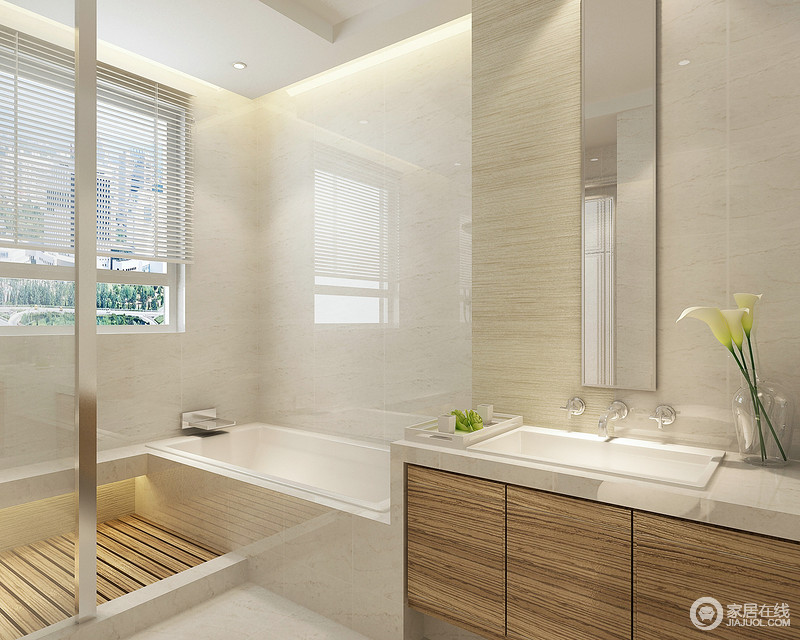 卫生间装修还是要注意干湿分区,因为随着使用时长的变化,会造成老化现象;设计师简单利用地砖方便渗水,通过浴缸和淋浴区满足不同需求,使用玻璃隔断区分强调结构感,与盥洗柜呈简洁之美。