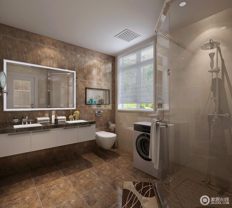 卫浴间从实用性出发,不再追求形式上的美感,而放弃功能性;大地色的砖石铺贴出淳朴感,白色悬挂式盥洗台带来灵空感,稳重中带着轻盈。