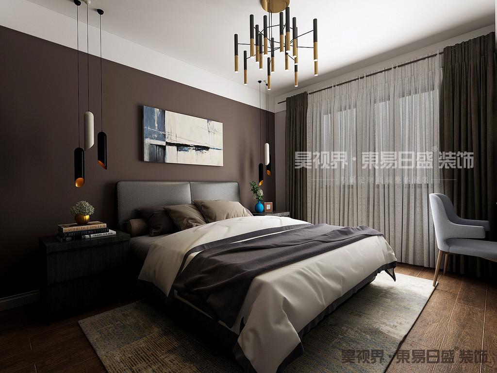 卧室同样保持轻松自然的舒适氛围,配色简洁素雅,色调沉稳宁静。床头挂画是点睛之笔。深色双人床和床头柜设计,搭配床头背景墙,温馨感由内而生。