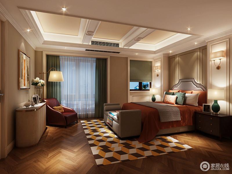 相对主卧的成熟魅惑,次卧则表现出的是年轻活力。橙色的床品与3D几何拼色地毯轻松缔造空间的张扬热烈的情绪。红色的沙发椅与墨绿的窗帘、台灯瓶身,则碰撞出和谐视感。