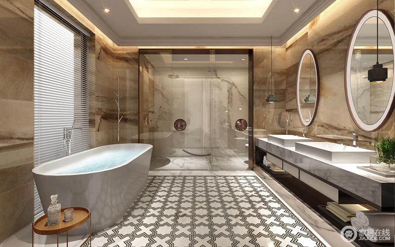 整体设计上以简约的基调来为主人打造质感空间,但是设计师以大地色的砖石铺贴出天然之景,让墙面好似一条蜿蜒的山脉,重生山景;黑白X形地砖带着简约与北欧黄铜圆几碰撞出时尚;浴缸与淋浴房以干湿分区的设计,尽显人性关怀,而白色方形台面与圆形镜饰呈现方圆之意,大气十足。