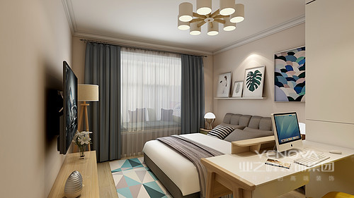 卧室的设计十分简单,从顶式衣柜的储物设计到卡通画,无不体现着美观和实用;原木地板搭配原木床头柜和素雅的床品,愈发让主人生活得舒适。