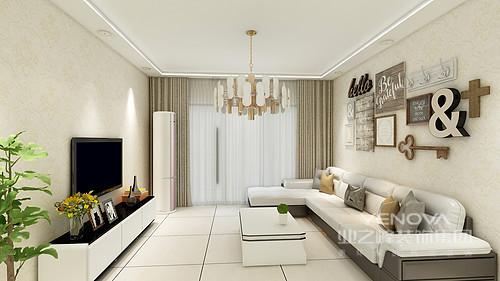 客厅以米色为主,为主人打造了一个既简单又和暖的空间;背景墙悬挂了各式摆件,组成一种简约文艺,白色沙发搭配白色茶几和电视柜,与电视延续了黑白艺术,更为精炼而得体