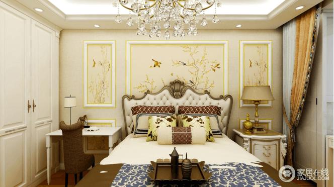 主卧以暖色为基调,双层石膏线的装饰,缀以水晶球的吊灯,给予空间温暖;米色繁花似锦的壁纸栩栩如生,敦厚精美的床带出古典欧式风格特有的质感,而布艺的装饰端庄优雅,让空间格外温馨。