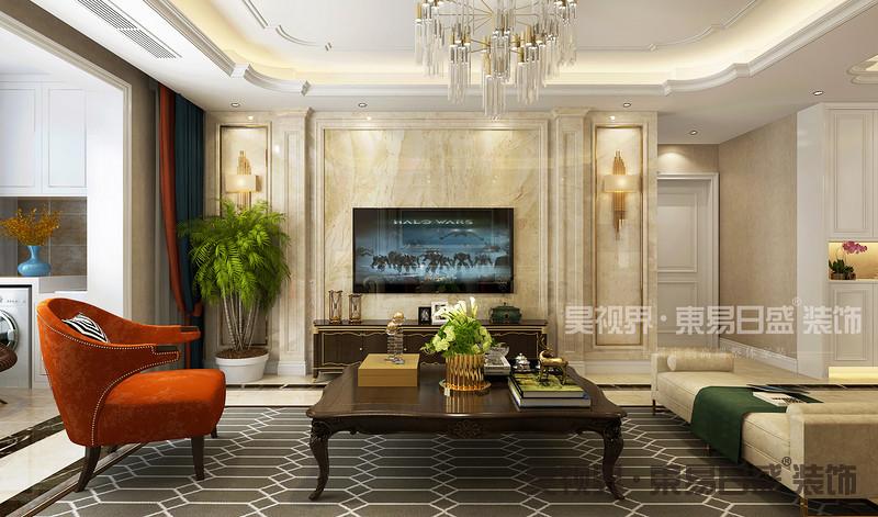 客厅整体以现代大方的空间为主,结合细节上的欧式元素,为这个现代大方的空间注入了独特的高档。
