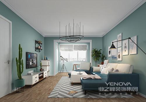 空间线条简洁,单用绿色漆来粉刷墙面,搭配原木地板,让空间多了一股自然的清气和温实;灰白条纹地毯搭配蓝白家具,给整个空间营造了层次,同时将简约设计的精致感也带给主人,让生活愈加富有格调。