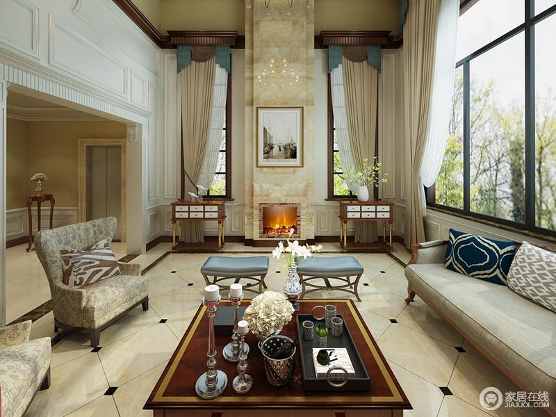 客厅里多面窗户将充足的光线带入室内,简白与雅黄色的搭配,显得落落大方。对称的手法,使空间看上去更为平衡和谐,印花图案与花枝的点缀,与室外趣意盎然的自然呼应。