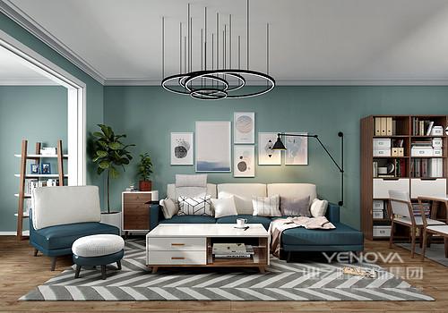 空间线条十分简单,白色的吊顶与墙面的豆绿色漆形成空间的清新;原木地板起到了平衡空间温度的作用,搭配简约的家具,让空间既时尚,又舒适。