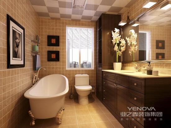 卫生间整个空间明亮柔和,收纳柜为空间节省空间