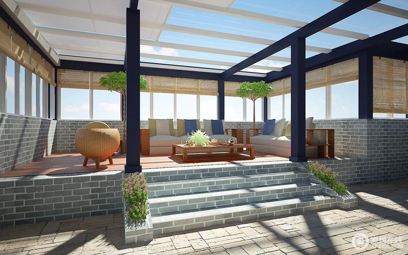 虽然整体空间的线条凝练而利落,但是设计师以中式元素让楼台多了中式质朴和仿旧;灰色仿古砖堆砌的空间素朴,藤编的卷帘更填清雅;仿中式梁柱作为主体结构展现了另一种美,与新中式浅色家具共造闲适和淡然的氛围。