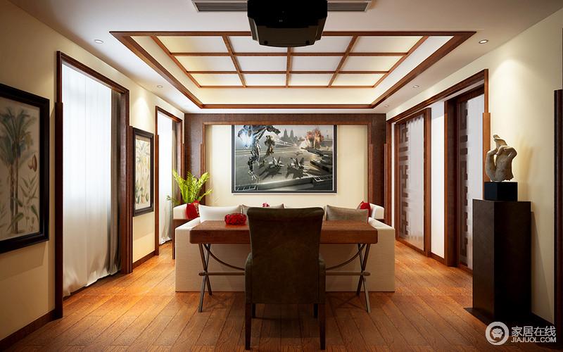 书房的吊顶以窗棂的设计形式变奏出几何之美,与原木地板的简单造就中式温馨;线条利落的博古柜和艺术品现代意味浓厚,与白色沙发、现代座椅酿造整洁大气,田园风的挂画让空间多了清新。