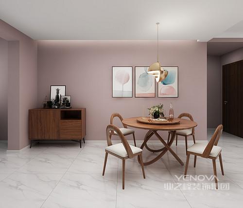 客餐厅是一个整体开放的空间,因为墙体与吊顶巧妙地做到功能分区;整体墙面与客厅保持一致,以粉色渲染甜美,而地砖的灰白色增加了空间的利落;实木家具陈列在不同的位置,极具功能性,也因为金属吊灯的时尚,让空间愈加得体。