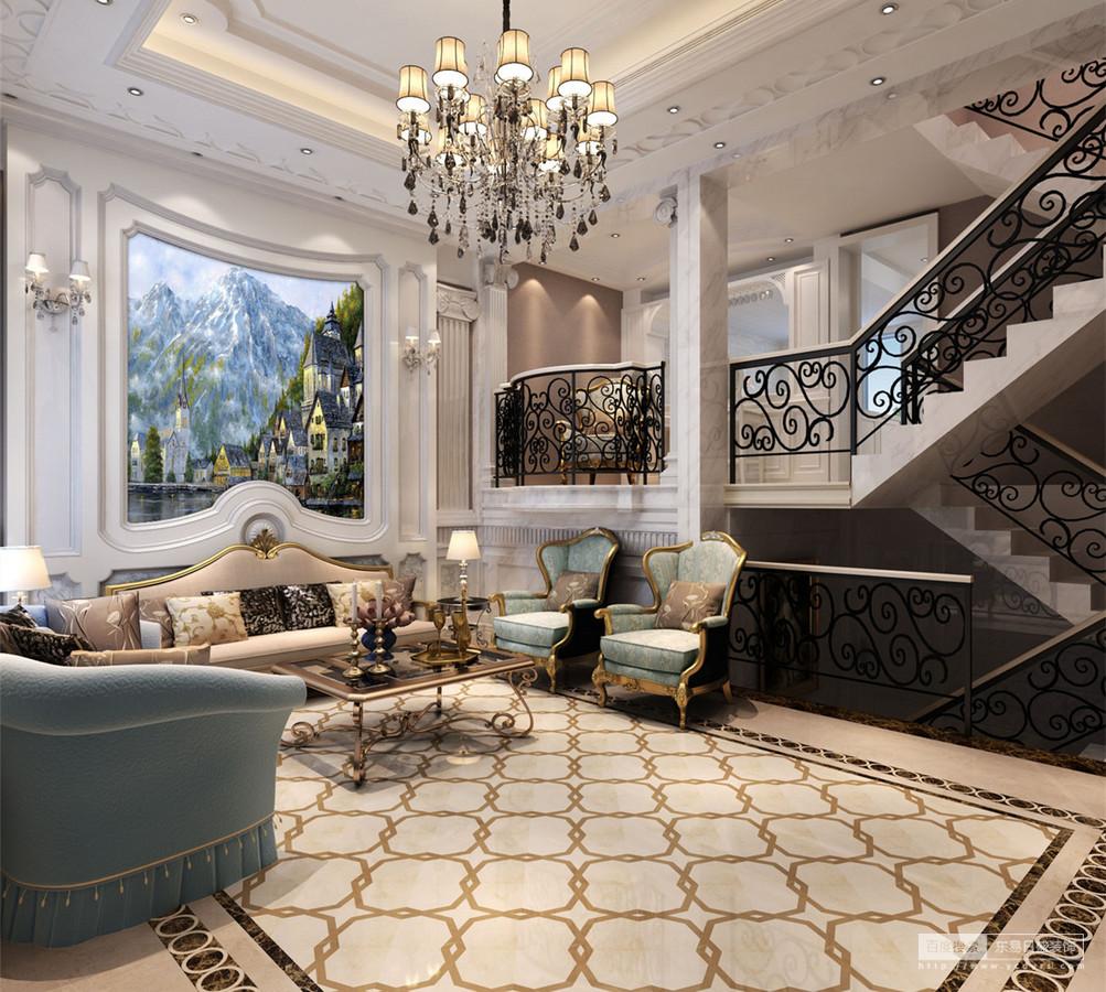 客厅空间高而阔朗,地面上丰富的曲线优美活泼的与镂空雕花扶栏,呼应出的缱绻浪漫赋予空间优雅感;从天花到沙发墙面上立体感强,镶饰的油画更添空间意境;沙发与茶几的组合轻奢又清新,空间也在丰富的装饰下,交织出典贵美韵。
