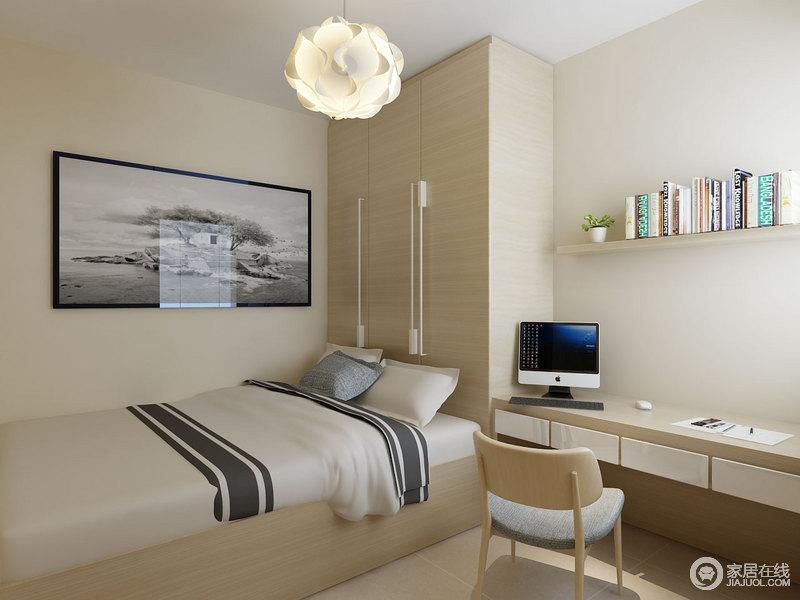 卧室以浅米色粉刷空间,营造了恬淡与温和,就连定制得衣柜、木床、书桌都以此来搭配,让主人生活得温馨;而球形曲线灯、自然之景的摄影画无不给这个简约的空间带来艺术的格调。