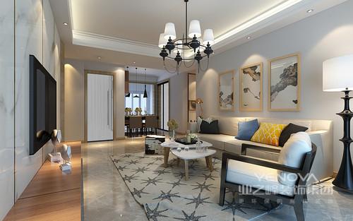 简约舒朗的客厅,整体色调淡雅柔和;灰色星星图案地毯活泼点睛,烘托错落的白色原木茶几;利落的座椅与灯饰,黑白色搭配出硬朗风情;米色沙发上黄蓝靠包与艺术挂画,构筑了空间文艺活力氛围。