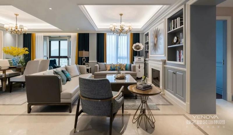 客厅整体采用灰白色调,给人一种高雅端庄之感,整个空间地面以黑色条纹框有效将各个功能区进行划分。
